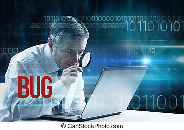 Bug against blue technology design with binary code