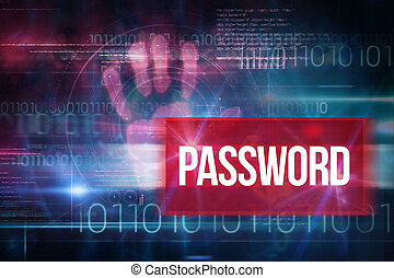 Password against blue technology design with binary code -...