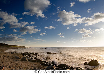 sunset of coral reef coastline - It is sunset of beautiful...