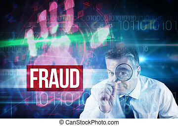 Fraud against red technology hand print design - The word...