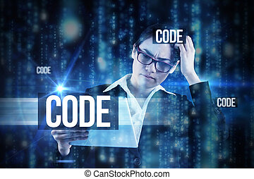 Code against lines of blue blurred letters falling - The...