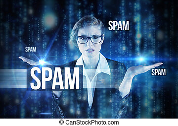 Spam against lines of blue blurred letters falling - The...