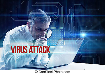 Virus attack against blue technology interface with circuit boar