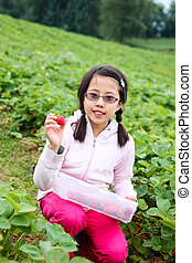 Asian Girl Picking Strawberries - Cute Asian girl showing...