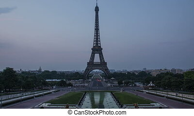 eiffel tower night to day timelapse - paris waking up view...