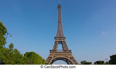 eiffel tower hyperlapse motion - camera moves from champs de...