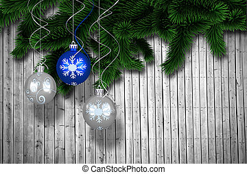 Composite image of digital hanging christmas bauble...