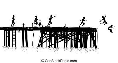 Jetty kids - Editable vector silhouette of children jumping...