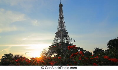 eiffel tower sunrise sunrays - famous landmark eiffel tower...