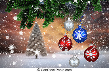 Composite image of christmas decorations against fir tree in...