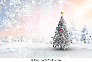 Composite image of christmas tree with baubles and star -...