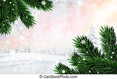 Composite image of snow falling against snowy landscape with...