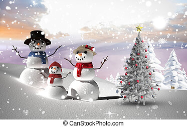 Composite image of christmas tree and snowmen against snowy...