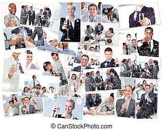 Composite image of collage of businessmen toasting and drinking