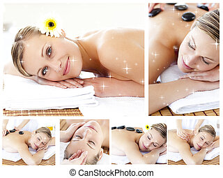 Composite image of collage of an attractive young girl being mas