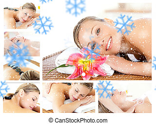 Composite image of collage of a young girl being massaged while