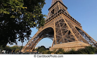eiffel tower wide angle tilt dawn - eiffel tower at sunrise...