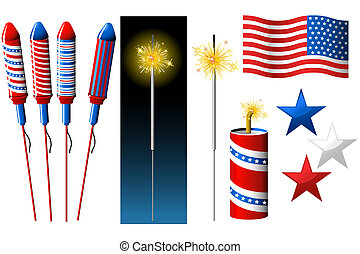 Vector Fireworks, sparkler and American flag