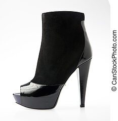 pretas, alto, calcanhar, moda, sapato