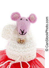 toy mouse in pink scarf and a red skirt - a toy mouse in...