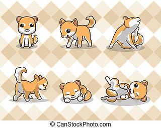 Shiba inu - Dog, Shiba inu with seamless pattern