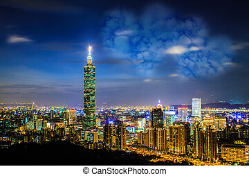 Taipei, Taiwan evening skyline - Taipei, Taiwan evening...