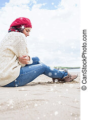 woman in stylish warm clothing - Woman in stylish warm...