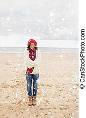 Composite image of pretty woman in stylish warm clothing at...