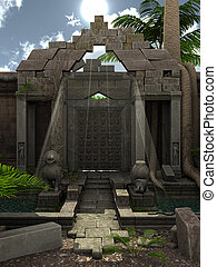 Fantasy ruins - 3D rendered fantasy temple with garden...