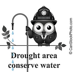 Drought Area - Monochrome conserve water message isolated on...