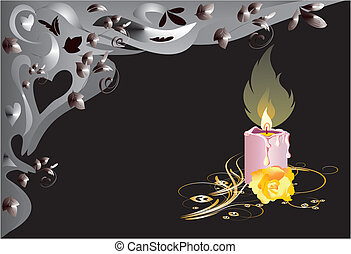 single candle, - sad composition with one candle