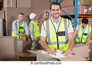 almacén, trabajadores, amarillo, Chalecos,...