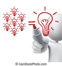 ampoules, concept, lumière, Collaboration, dessiné, 3D,...