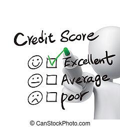 credit score words written by 3d man