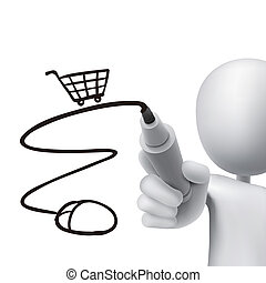 online shopping cart drawn by 3d man ove