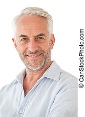 Portrait of a happy mature man over white background