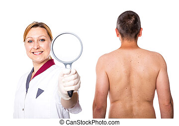 doctor with glass and a man - dermatologist with glass and a...