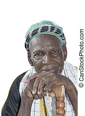 Old African man, isolated - Old African man wearing...