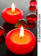 romantic love - love or romance concept with red candles...
