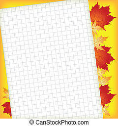 Sheet of paper for entries on autumn leaves background