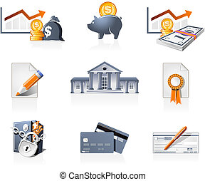 Bank, finances and stock-market icons