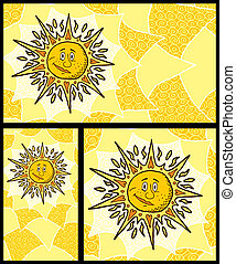 Sun Backgrounds - Hand drawn sun backgrounds No transparency...