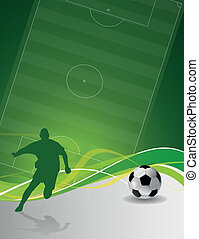 illustrated soccer player with ball - abstract vector...