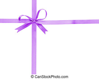 purple thin ribbon with bow cross, isolated on white