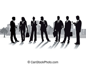 Group of business people with cityscape