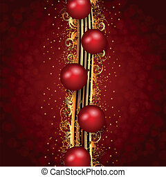 Christmas decoration red and gold - Vertical decoration in...