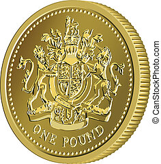 Vector British money gold coin one pound with the coat of arms