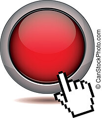 Click the button - modern red glossy round 3d vector button...