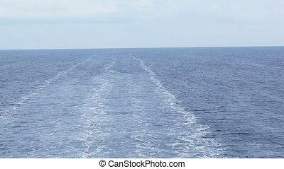 Next astern - Foamy wake behind stern ferry