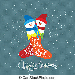 Merry christmas with couple snowman